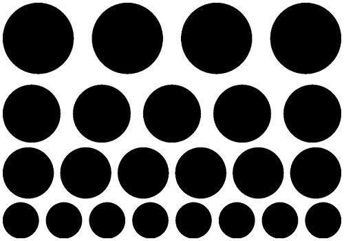 Samunshi® Aufkleber Kreise Creativ-Set 23 Teile Autoaufkleber Punkte in 5 Größen und 25 Farben (32x22cm schwarz)