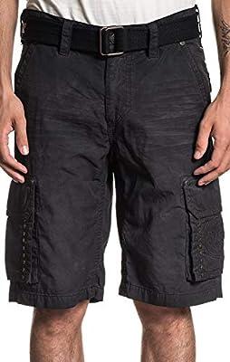 Affliction Optimal Fashion Embroidered Cargo Shorts for Men (Belt Included)