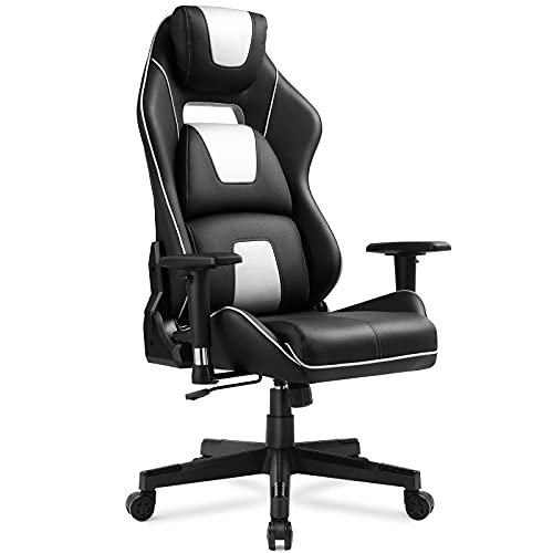 GTPLAYER Gaming Chair Ergonomic Triple Back Support Breatheable Mesh 360° Swivel 3D Armrest Height Adjustable 150° Reclining Rocking Computer Chair - White