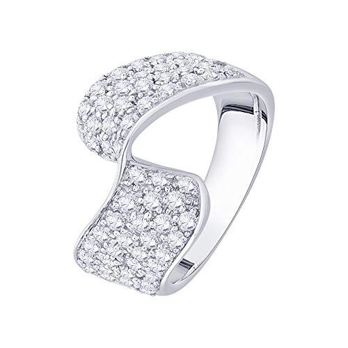 Anillo de plata de ley con diamante de moda (1 1/4 quilates) (I-color, SI3/I1-Clarity)