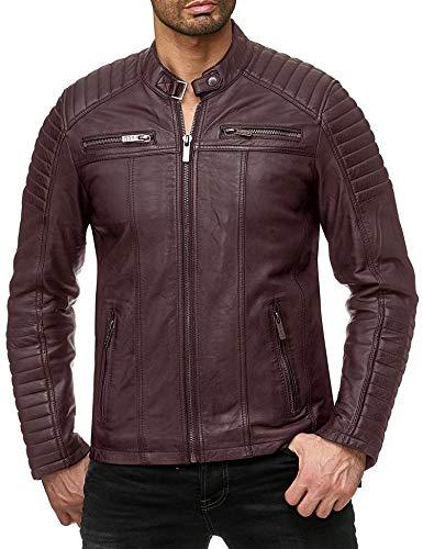 Coofandy Men's Classic Leather Motorcycle Jacket Winter Biker Jacket Red