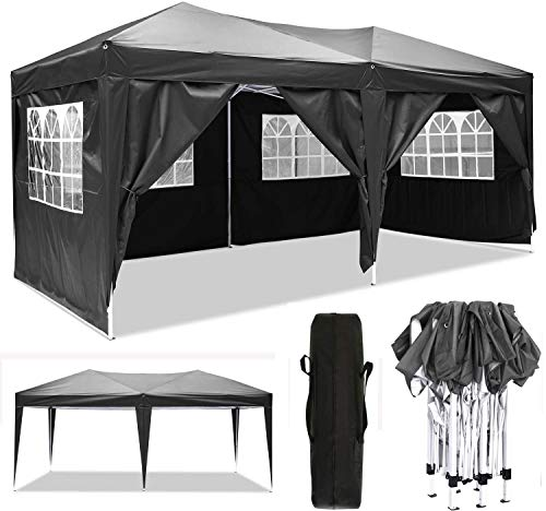 Oppikle 3x3m /3x6m Garden Gazebo Marquee Tent with Side Panels, Fully Waterproof, Powder Coated Steel Frame for Outdoor Wedding Garden Party (3 * 6/m Black)