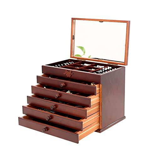 Caja de joyería Caja de joyería de madera grande para mujer Organizador caja / gabinete / armario con bloqueo de joyería organizador para niñas anillo collar, 5 cajones Organizadores de caja de joyerí