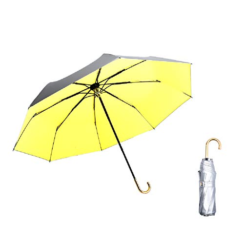 WUHUAROU Titanium Silver Plastic Sun Umbrella Luxury Ultra-light Sun Protection and UV Protection Hook Folding Female Umbrella (Color : Yellow)