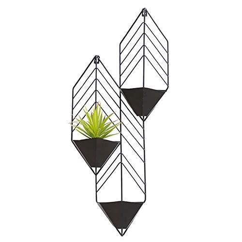 ADAHX Macetero Geométrico para Colgar en Pared, para Jardines Interiores Jarrón Metal Decorativo Plantas Suculentas Tillandsias Cactus Pequeños Plantas Maceta Soporte,Negro