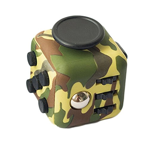 feifanshop Fidget Cube Focus Toys Anti-Stress/Anti-anxiety for EDC, ADHD, Children, Teens, Student and Adults Dice Stress anxiety Reliever (Camouflage Green)