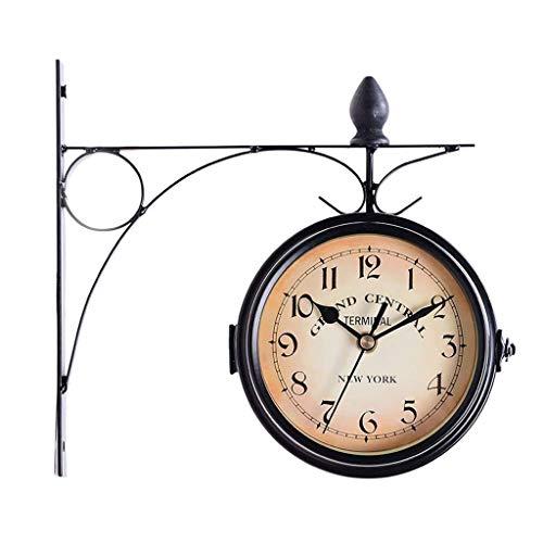 両面壁時計屋外ガーデンヴィンテージパディントン駅壁時計壁掛け錬鉄時計黒
