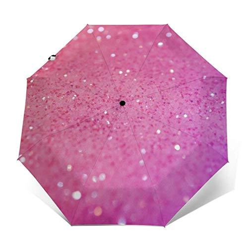Auto Close Bling Bling'S - Paraguas automático de tres pliegues con fósforo rosa morado que puede prevenir el viento, la lluvia y los rayos UV