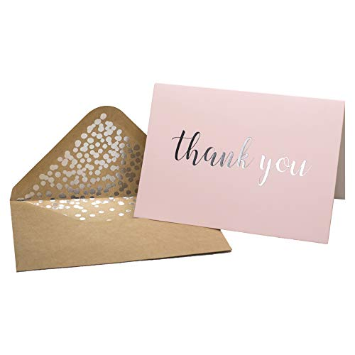 Thank You Cards - Blank 50 Pack Pink Matte Finish Cards with Silver Foiled'Thank You' Printed with 52 Confetti Design Kraft Envelopes 4' x 6' - for Bridal Shower Baby Shower Birthday Party