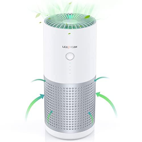 Auto Luftreiniger für Büro, Desktop&Schlafzimmer, Leadyeah Luftreiniger HEPA H13 Entfernen von 99,7% der Pollen, Rauch und Staub, Luftfilter Negative Ionen mit 3 Tempo, Nachtmodus, Luftqualitätslicht