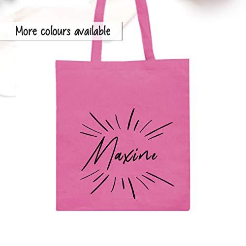 Canvas Shopper Tote Bag, Personalsierte Baumwoll Tasche, Name Burst'' Schultertasche