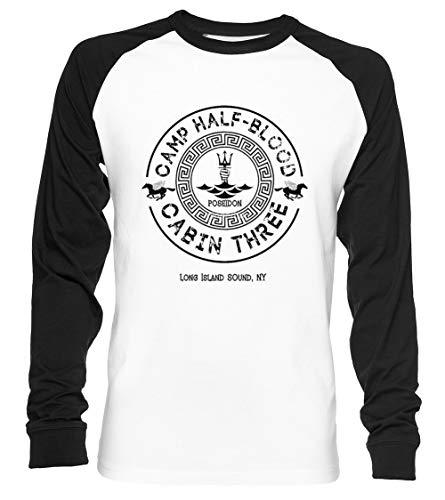 Percy Jackson - Camp Half-Blood - Cabin Three - Poseidon Unisex Baseball T-Shirt Langarm Herren Damen Weiß Schwarz