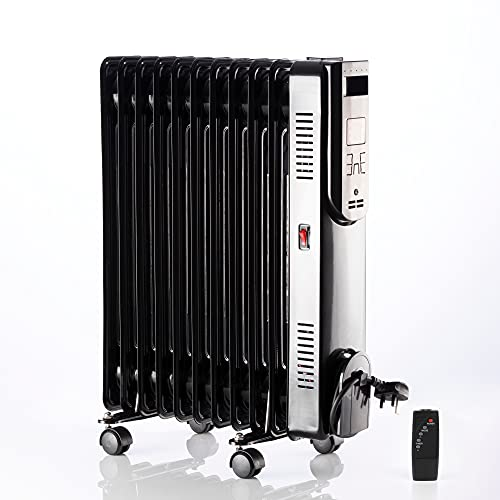 Daewoo 11 Fin Oil Filled Radiator HEA1821 2500W Remote Control Portable Electric Heater With LCD Display, Adjustable Temperature Black