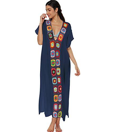 Copricostume Lungo Donna Mare Costume da Bagno Abito Spiaggia Caftano da Abiti Vestito Pareo Mare Boho Copri Costumi Copricostumi Lunghi Scollo a V Signora Cover Up Estate Abbigliamento Marina