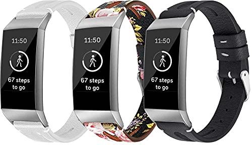 Gransho Piel Correa de Reloj Compatible con Fitbit Charge 4 / Charge 4 SE/Charge 3 SE/Charge 3, Correa/Banda/Pulsera/Recambio/Reemplazo/Strap de Reloj (3-Pack I)