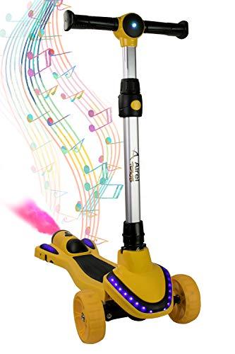 Airel Patinete para Niños con Música y Vapor   Scooter 3 Ruedas   Patinete con Luces   Patinete Ajustable   Patinete para Niños de 3-8 Años …