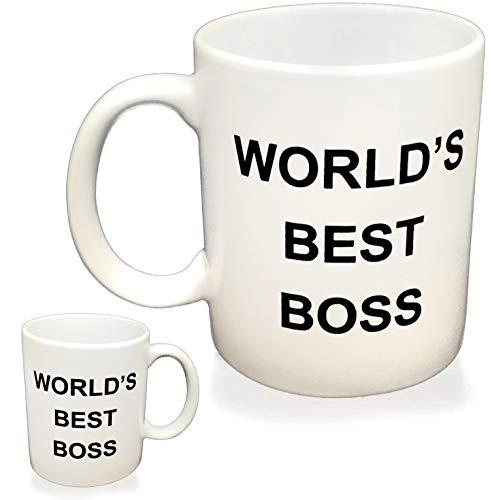 WORLD'S BEST BOSS Coffee Mug, Double Sided Imprint, 11 OZ Ceramic Mug For The Office
