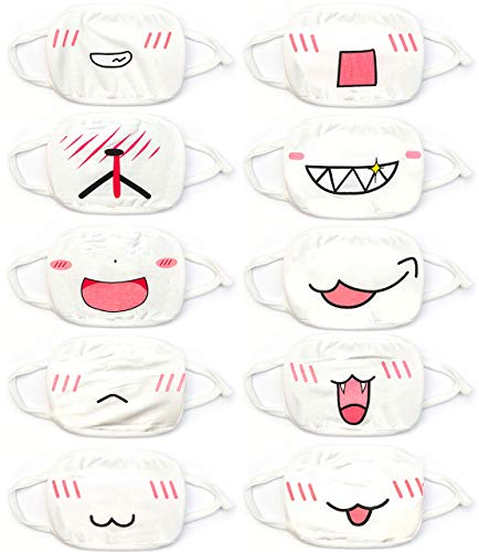 Face Mouth Mask - Cotton Face Covering (10 Pack) - Face Mask Resuable, Washable, Breathable, Adjustable - Adult and Child Size - White Anime Designs