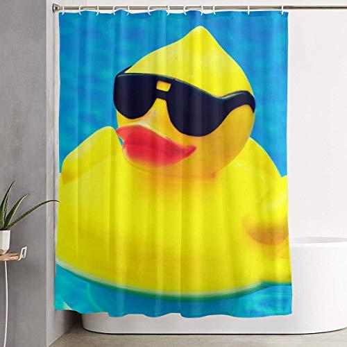 N/A voor decoratieve badkamer gordijn schattig rubber eendje met zonnebril douchegordijn met haken waterdicht bad gordijn 60 ''W X 72''H