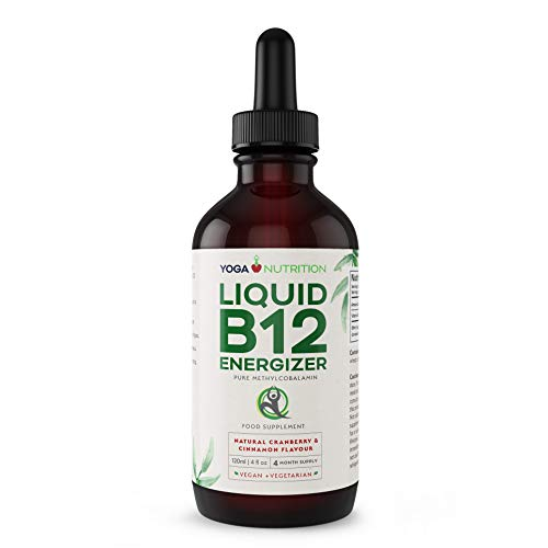 Liquid Vitamin B12 ENERGIZER - Methylcobalamin Sublingual Drops - Cranberry Flavour - No Artificial Preservatives - 1,000 mcg 120 ml (4 Month Supply) by Yoga Nutrition
