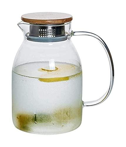 Tetera de Vidrio Tetera Hervidor de Agua Jarra de Agua Tetera de Vidrio Jarra con Tapa Helada y Mango Borosilicato Resistente al Calor (Tamaño: 1501Ml)