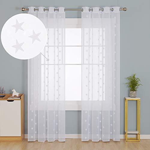 Doconovo Cortinas Translúsidas Visillos para Ventanas con Ojales 140 x 245 cm 2 Piezas Blanco Estrellas y Blanco