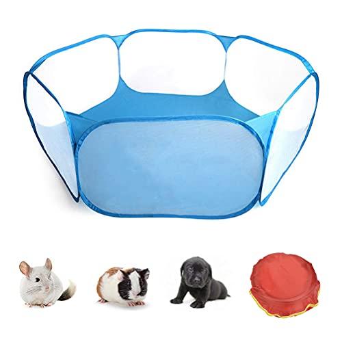 Tienda de jaula para animales pequeños, corralito para mascotas transparente y transpirable, valla abierta para ejercicio al aire libre/interior, valla portátil para conejillos de indias