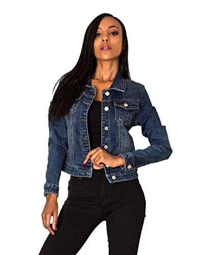 Nina Carter Damen Jeansjacke Übergangsjacke Leichte Waschungseffekt Jacke Blau Denim Casual (Dunkelblau (Dark Blue), XXL)