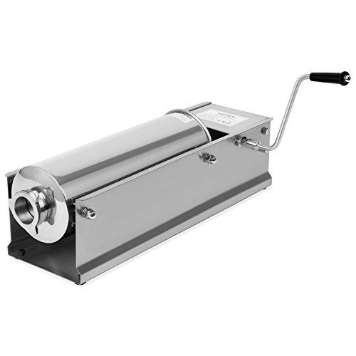 Vertes 7 Liter Wurstfüllmaschine aus Edelstahl (inkl. 4 Fülltüllen aus Edelstahl Ø 16, 22, 32 und 38 mm, 2-Gang Getriebe, 3 zusätzliche Ersatzdichtungen)