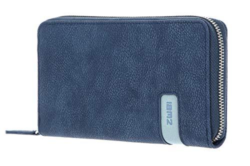 zwei Mademoiselle Wallet Damengeldbörse 19 cm, Nubuk-Blue (Blau),