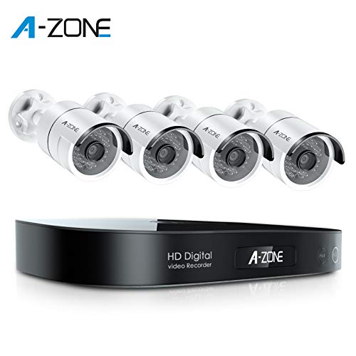 A-ZONE Security Camera System Outdoor, 8-Channel Full HD 1080P Bullet AHD Surveillance System, 4 Outdoor/Indoor 3.6mm Fixed Lens 2.0 Megapixel IP66 Waterproof Cameras,Motion Detection,No Hard Drive