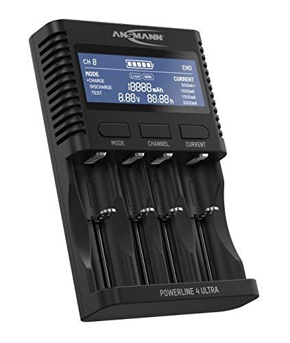 Ansmann für AA/AAA/C/D NiMH Akkus & Li-Ion 18650/26650 Batterieladegerät (Laden/Entladen/Testen) Akkupflegestation Powerline 4 Ultra, schwarz