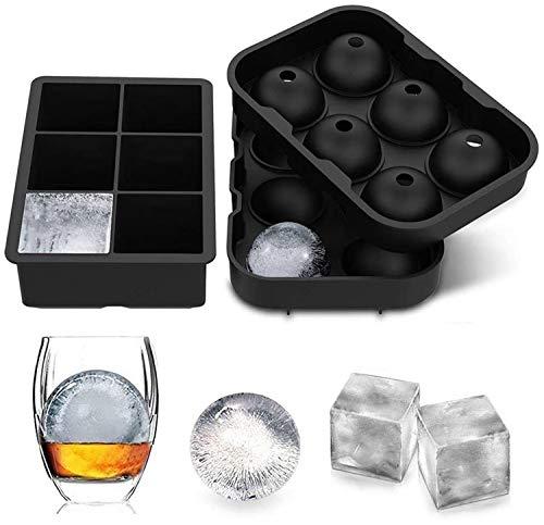 Eiswürfelform Silikon, 45mm Eiskugelform 48mm 6-Fach 2-Set Eiswürfelbehälter Silikon Eiswürfelformen Ice Cube Tray Eiswürfel Form BPA Frei für Whisky Cocktails Saft Schokolade Süßigkeiten (Schwarz)