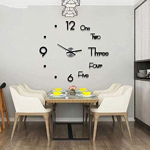 DIY Wall Clock Frameless Mute Decorative Wall Clock 3D Acrylic Digital Electronic Wall Clock Big Creative Adjustable Numerals Stickers Silent Wall Clock for Home Office Decorations (Black, Large)