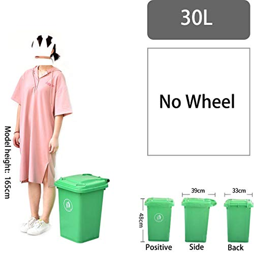 Outdoor grote prullenbak Garbage classificatie Large Commercial Street Sanitation Gemeenschap Verdikte vuilnisbak met deksel (Size : 30L-No Wheel)
