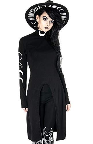 Restyle Split Tunic Occult Gotisch Fashion Dames Zwart Lang Coltrui Jurk met Afdrukken van Maanfasen
