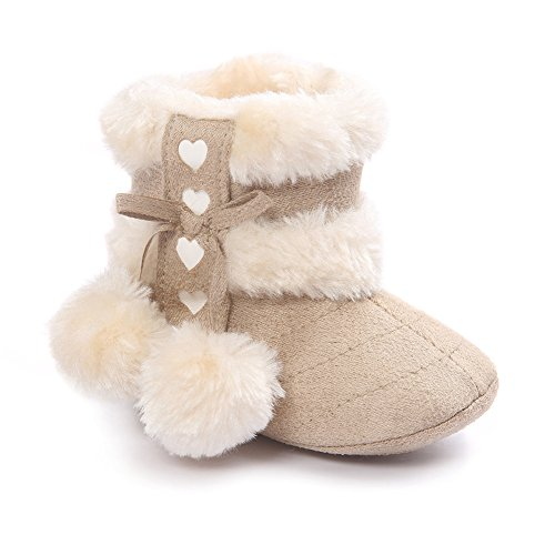 ESTAMICO Baby Girl Winter Fur Snow Boots Toddler Shoes with Bowknot Light Khaki 12-18 Months