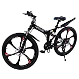 26in Mountain Bike Folding Bikes, 21 Speed Adults Featuring 6 Spoke Wheels and Shimano Shifter, Outdoor Exercise Road Bikes Dual Disc Brakes Full Suspension,Non-Slip for Mens Womens (A)