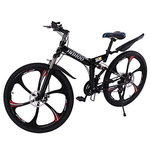 26 inch Mountain Bike Folding Bikes 21 Speed Non-Slip Full Suspension MTB Bikes for Adults Teens Road Bikes Bicycle with Disc Brakes Bike Sport Wheels