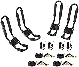 AA-Racks 2 Pair J-Bar Rack for Kayak Canoe Boat Carrier Roof Top Mount on Car SUV Truck Crossbar with 16 Ft Ratchet Lashing Straps & 10 Ft Ratchet Bow and Stern Tie Down Straps