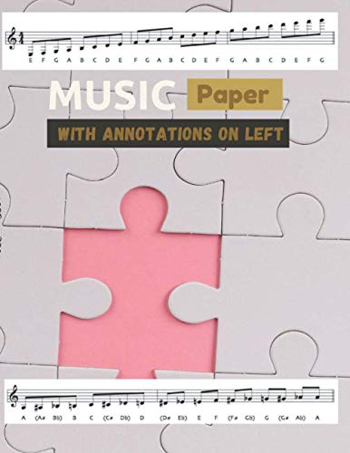 Music paper with annotations on left Jigsaw puzzle cover, 8 staves per page 100 pages - Large(8.5 x 11 inches)