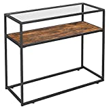 VASAGLE Console Table, Entrance Console, Tempered Glass Top, Robust Steel Frame