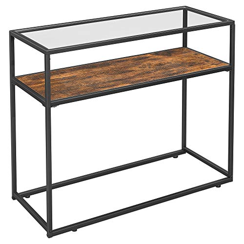 VASAGLE Console Table, Entrance Console, Tempered Glass Top, Robust Steel Frame, Easy Assembly, for Living Room Hallway, Industrial Style, Rustic Brown and Black LNT10BX