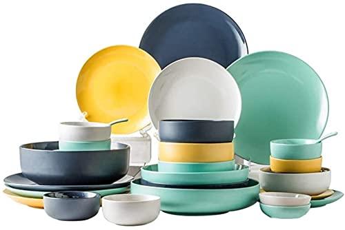 Juego de Platos, Conjuntos de Cena de cerámica (36 Piezas), tazón/Plato/Cuchara | Conjunto de vajillas de Color macarrón, combinación de Estilo Minimalista nórdico, Euro Ceramica