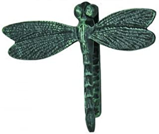 GSM Large Cast Iron Dragonfly Door Knocker with Verdigris Finish, Green, 8Lx7Tx2.2W