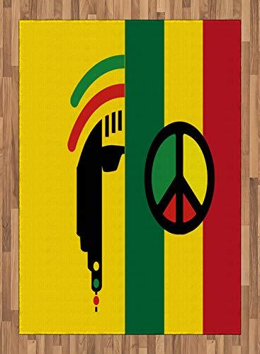 ABAKUHAUS Rasta Teppich, Reggae-Musik-Frieden, Deko-Teppich Digitaldruck, Färben mit langfristigen Halt, 160 x 230 cm, Rot, Grün, Gelb