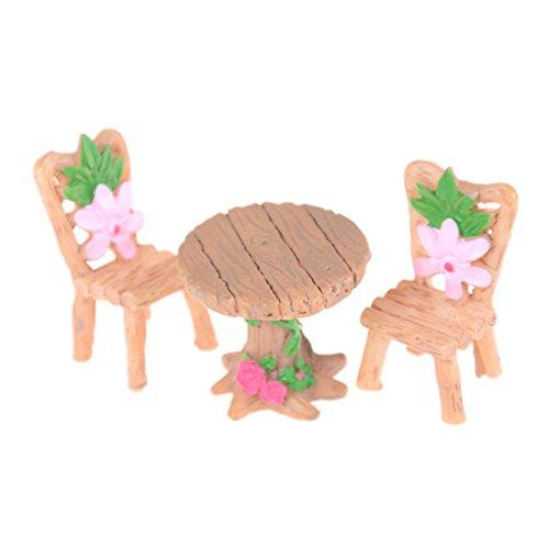 bismarckbeer Fairy Garden Kit, 3Pcs/Set Miniature Table et Chaises Résine Crafts DIY Dollhouse Fairy Garden Ornement