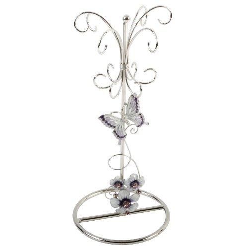 Juliana Glass Jewellery Holder Purple Butterfly/Flowers/Crystal