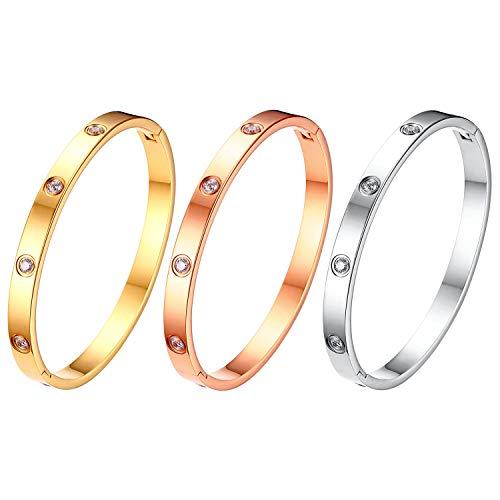 Flongo Bracelets 3 Ors Argent/Or/Or Rose pour Femme Fille, 3PCS Bracelets Manchette Inscruté de Zircon en Acier Inoxydable Style Simple Charme