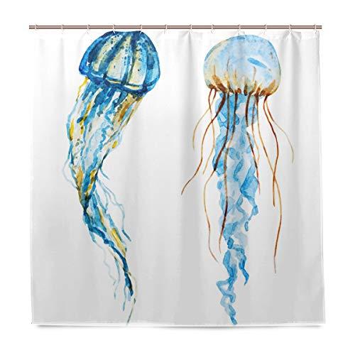 Aquarell-Quallen Marine Life Badezimmer-Duschvorhang, Innenausstattung, Stoff, schimmelresistent, wasserfest, mit 12 Haken, 183,0 cm x 183,0 cm